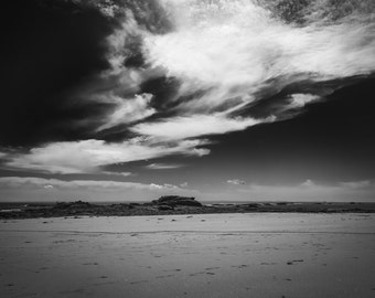 Photography black & white beach of Conguel in Quiberon, Brittany - France / Black and White Photography Fine Art Landscapes of France