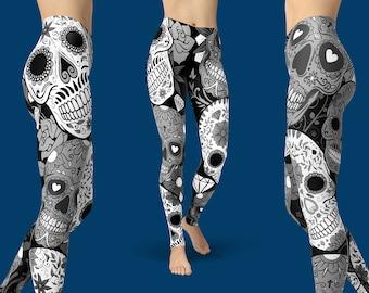 Sugar Skull Leggings, Yoga Leggings - Sugar Skull Yoga Pants, Capri Yoga Pants, Sport Stretch Leggings, Fitness Workout Yoga Pants Joggers
