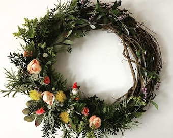 "18"" Woodland Spring Wreath with Peonies, Greenery"