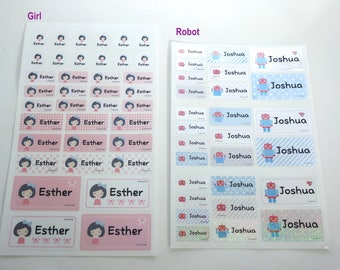 Waterproof GIRL or ROBOT MIXED Sized Name Sticker