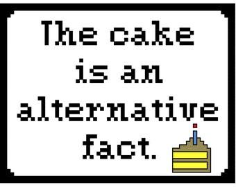 The cake is an alternative fact cross stitch pattern