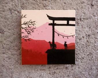 Back Light -  deers torii japan monochrome Original Painting