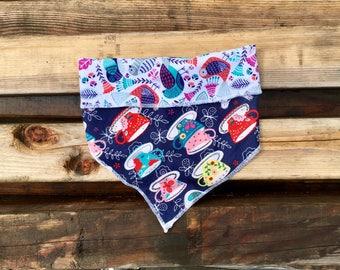 Tea Pawty- dog bandana- dog scarf- dog neckwear- tea cups- birds