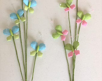 Butterfly decoration,Beads butterfly stem,Spring butterfly decoration, Floral DIY