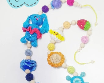 Cute teethers set. Hypoalergyc handmade newborn jewerly toy.