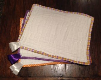 Burptags 3pk - burp rags with the silky tags - purple and orange