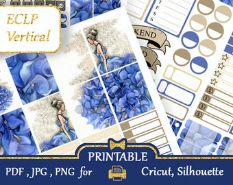 Glam Erin Condren Life Planner Stickers  Weekly Kit Blue and Beige ECLP Stickers Printable Flowers stickers shops Silhouette Cut file