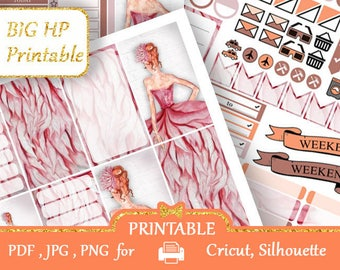 BIG Happy Planner Stickers Pink Dress Girls Planner Printable Glam Weekly Kits Printable Day Designer Functional stickers Silhouette
