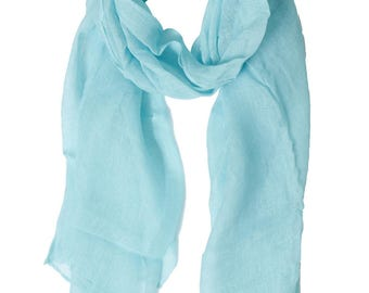 Scarf in linen Turquoise 60 x 180 cm