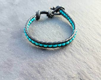 Kids turquoise leather bracelet