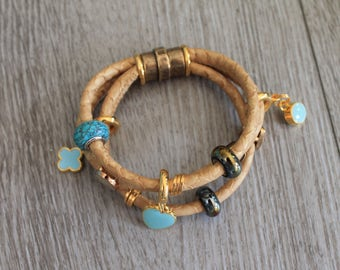Leather Bracelet Dreireihig turquoise summer gift ceramic beads magnetic clasp, heart pendants HAND MADE UliAjewels