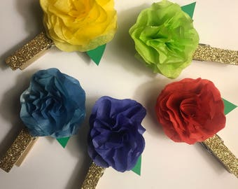 Fiesta Mexican Weddings/Birthdays/Events: Glitter Flower Clothespins-Set of 20