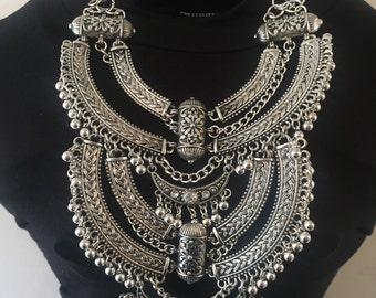 Statement tribal rhinestones bling 3 tier silver bib fashion trending necklace.