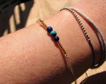 Handmade Silver Bracelet Lapis Lazuli Turquoise Golden Miyuki Gift Woman Pearls