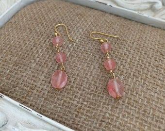 Cherry quartz dangle earrings