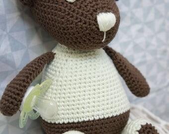 Teddy bear chocolate/mint - handmade