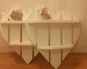 Beautiful Cream Wooden Heart Shelves