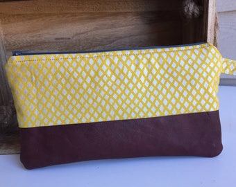Yellow and Red Leather Wrist Clutch, Wristlet