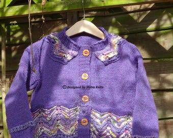 Girls Purple Cardigan, Girls Handknit, Handknitted Cardigan,Girls Patterned Cardigan, Handknitted, Purple Cardigan,Purple handknit