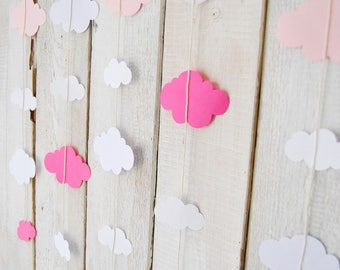 Nobile Paper cloud garland - pink, white