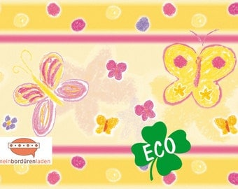 ECO kids trim: butterflies | Borders for children, border for allergy sufferers, butterflies, wall border, nonwoven, pastel chalk