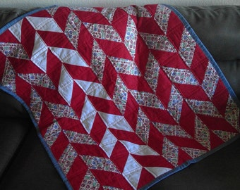 Red, White, Blue, and Floral Crib Sized Quilt