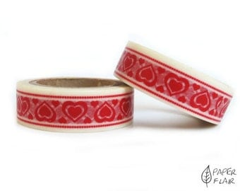 Washi tape heart red (PY-307)
