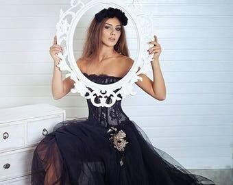Black Wedding Dress. Princess Wedding Dress. Ball Gown Bridal Dress. Black Fluffy Wedding Dress. Prom Dress. Black Formal Dress.