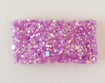 Frosty lilac glitter snap clip OR alligator clip