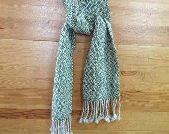 Merino/Silk, Hand Spun and Hand Woven Scarf, Green and Multi