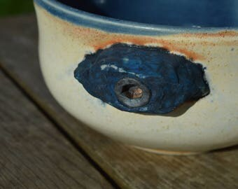 Rock Climbing Bowl — Blue Interior, Holds with Bolts, Tan Exterior