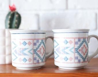 Set of 2 Vintage Tribal Aztec Southwest Style Mugs Figi Graphics Otagiri Japan