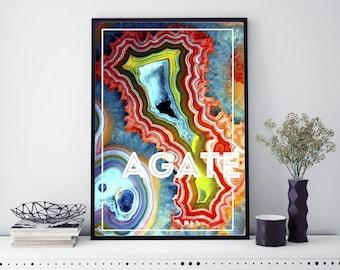 Agate Slice Art Geode Print Agate Print Geode Wall Art