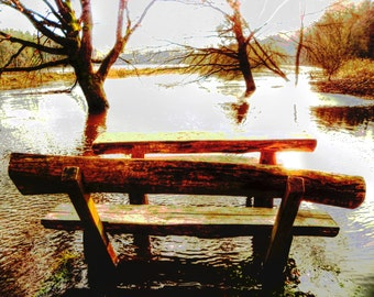 """limited artistic Photography """"water-bench"""" by Thomas de Bur Germany 100% cotton canvas gallery photograph art signature certificate"""