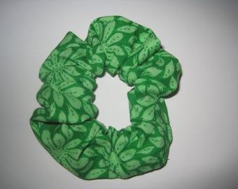 Green Flower Scrunchie