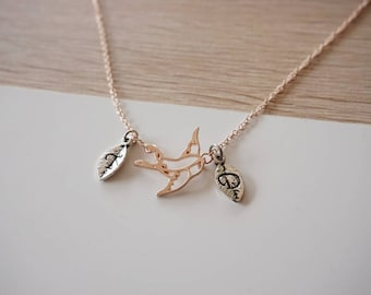 Bird swallow, rosé gold plate necklace, gold rose necklace bird - initial necklace