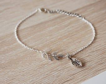 Laurel leaf initial, plated bracelet silver sister necklace, necklace, bridesmaid gift friend