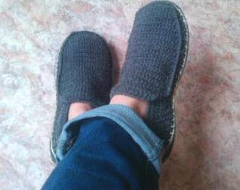 Crochet Slippers, Gray Slippers, Warm Slippers,  Home Shoes, Mens Loafers, Men Accessories, Gifts for Dad, Mens Gift