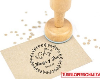 Self Inking Wedding Stamp, Custom Wedding Stamp Mod. 07