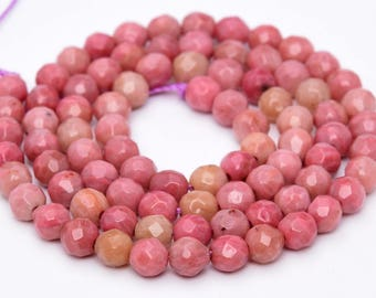 "4MM Faceted Rhodonite Natural Gemstone Full Strand Round Loose Beads 15"" (100889-317)"