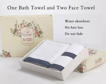 3 Pure Cotton White Face  And Body Towels Set Bathroom Hotel