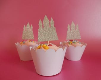 12 x Princess Castle Glitter Cupcake Toppers - Double sided. Birthday, Party Decorations, Handcrafted