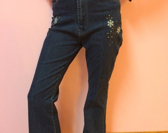 90s High Waisted Navy Blue Flare/Straight Cut Jeans - 25 SMALL - Women