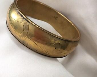 Brass Vintage Bracelet - Cool Ethnic Bracelet - Engraved Bracelet - Tribal Bracelet - Boho Chic Bracelet