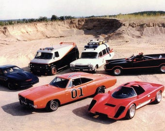 Iconic Cars of the 80's General Lee, Knight Rider, Bat Mobile, Ghost busters, A Team 24 x 36 inch Poster Sweet!