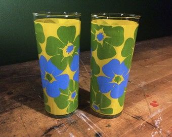 Vintage 1970's Floral Highball Glasses High Ball Juice Water Glass