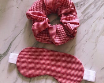 Sleep Mask + Scrunchie Set, Red Gingham Southern Country Design, Sleepmask, Eye Mask, Eyemask