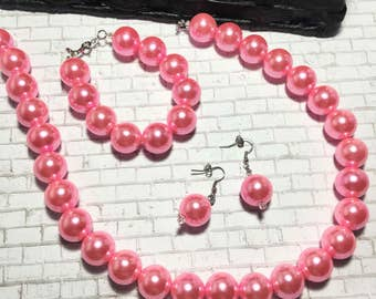 Faux Pink Pearl Beaded Jewelry Set, Handmade Fashion Jewelry, Beaded Necklace, Bracelet, and Earrings