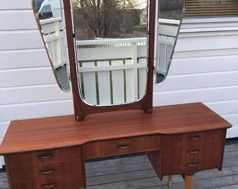 Vintage scandinavian mid century teak dressing table