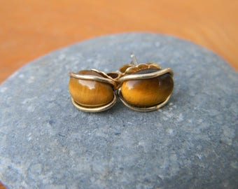 Tiger's Eye Stud Earrings with Gold Plated Setting
